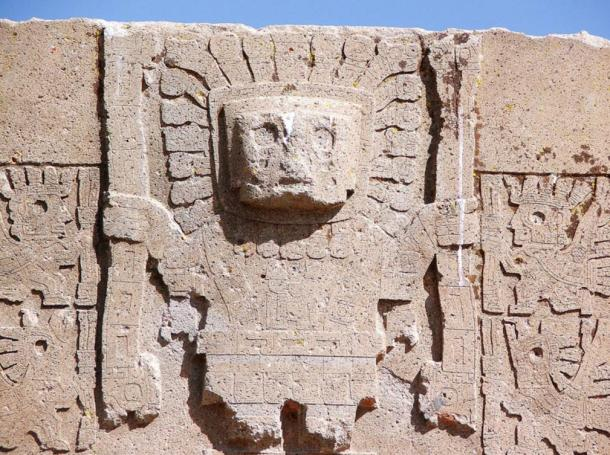 A carving of Viracocha on the Sun Gate at Tiwanaku