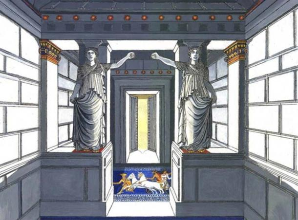 Artistic representation of the caryatids in the Amphipolis tomb, © Gerasimos G. Gerolymatos.
