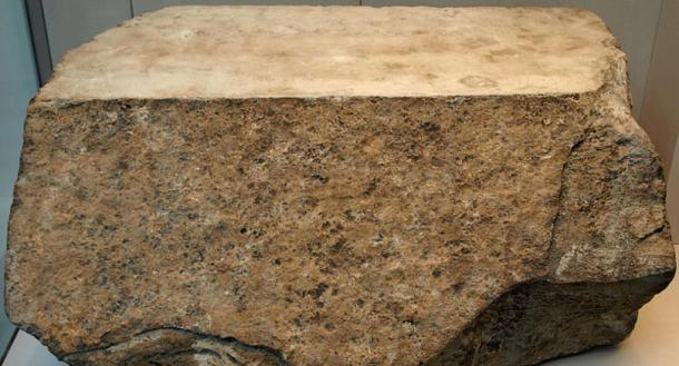 One of the original casing stones for the Great Pyramid (circa 2570 BC), most of which were removed during medieval times. This block was found in the rubble surrounding the pyramid.