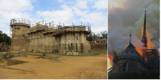 Left; The construction of Guédelon Castle in France, using medieval techniques. CC BY-SA 4.0  Right; The wooden spire just before its collapse at the Notre Dame cathedral fire. Antoninnnnn / CC BY-SA 4.0