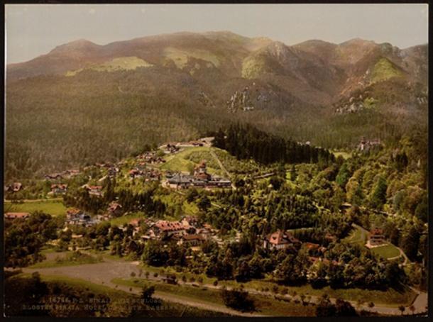 Peleș Castle and the surrounding area circa 1890 -1900.