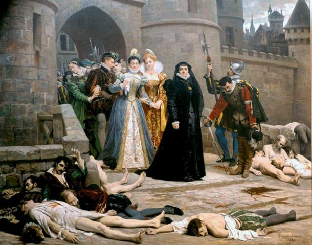 Catherine de Medici looks at Huguenots massacred in France, 1880 painting by Edouard Debat-Ponsan