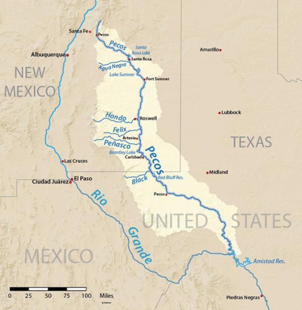 Map of the Pecos River watershed.