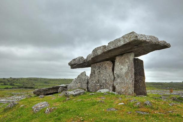 Ancient Celtic dolmen from Poulnabrone, Ireland.