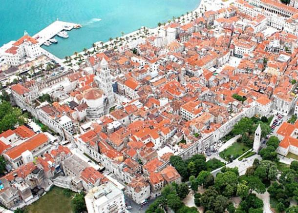 The modern-day center of Split, with Diocletian's Palace, in 2012 (viewed from the north-east).