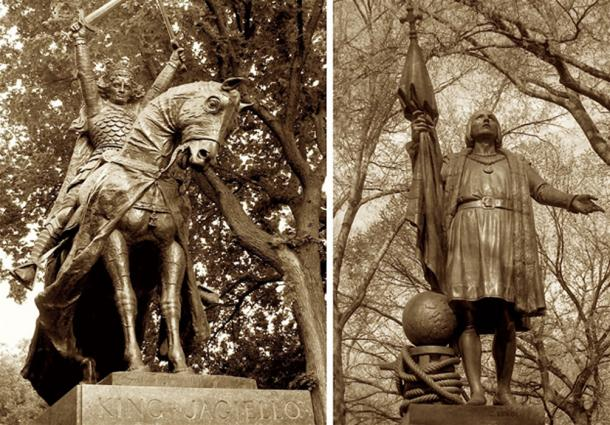 Long-lost relations, hidden in plain sight: New York's gracious Central Park memorializes two men from very distant spheres of eminence. A new Columbus biography pinpoints King Władysław II Jagiełło of Poland/Lithuania (left), victor in one of Medieval Europe's largest and most decisive battles, as the grandfather of Christopher Columbus (right).