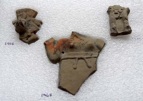 Some of the ceramic pieces found in the offering.