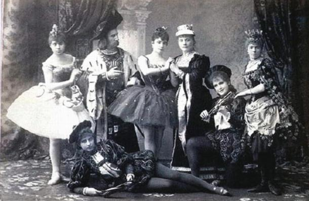 A publicity photo for the premiere of Tchaikovsky's ballet 'The Sleeping Beauty' (1890).