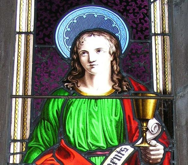 The chalice-holding figure from Wright's window.