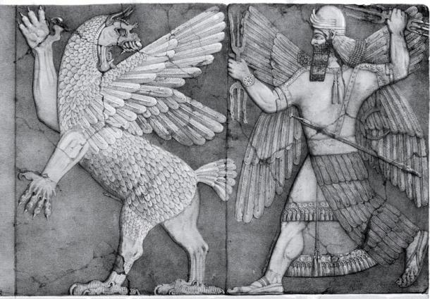 A chaos monster (perhaps Tiamat), and a sun god, perhaps Marduk.