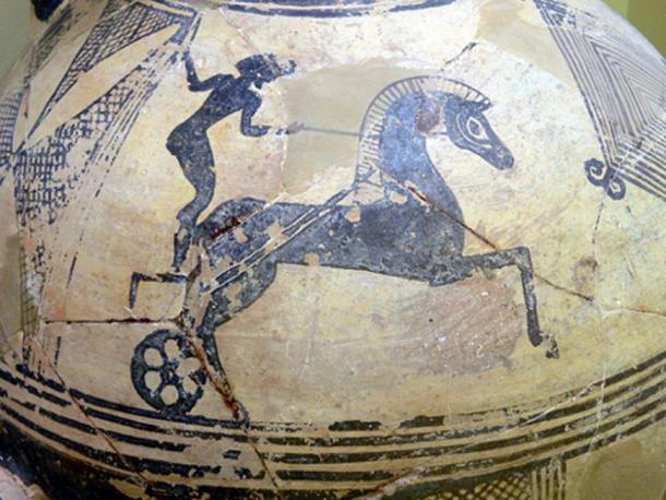 Representation of a chariot race on a clay hydria.