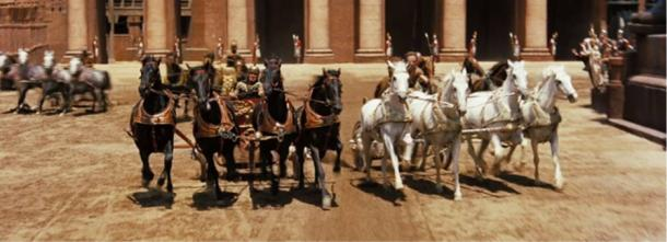 The chariot race scene from the 1959 film, Ben-Hur.