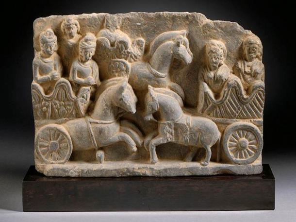 A chariot scene from Pakistan, Gandhara region, third century.