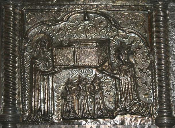 Relief from the chest showing Queen Elizabeth presenting a chest to St. Simeon, with her daughters praying.