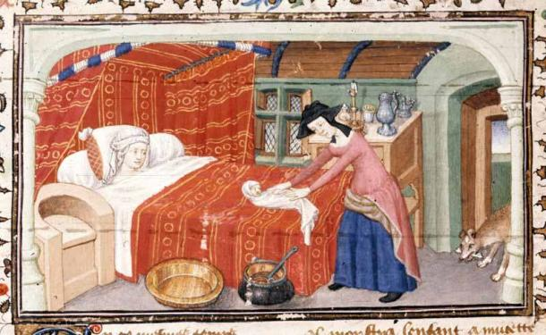 Medieval image of childbirth, 15th century. (Public Domain)