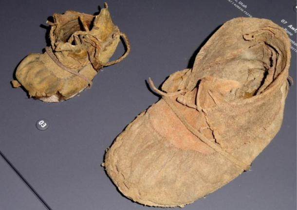 An adult's and a child's moccasin found in Promontory Cave I, Utah