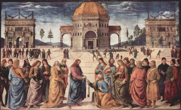 Christ Giving the Keys to St. Peter by Pietro Perugino (1480) (Public Domain)