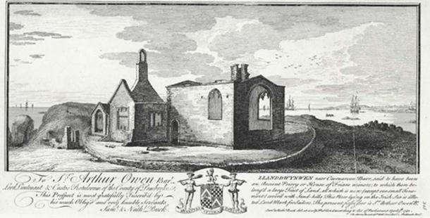 The church of Llanddwynwen or Llanddwyn in the 18th Century.