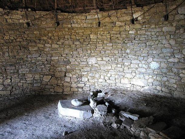 Interior of a circular building in Keulap, Peru.