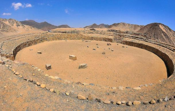 The remains of a circular monument in Caral