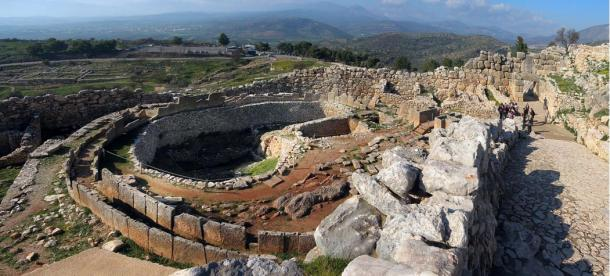 Grave circle and main entrance of the citadel at Mycenae, one of the major centres of the Mycenaean civilization.