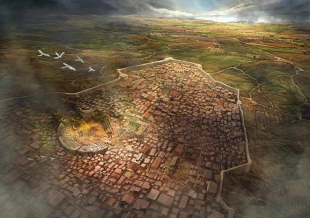 An artist's representation of the city of Argos, once a significant Mycenaean center in Greece.