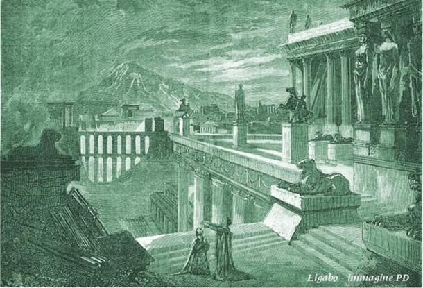 1859 Imaginative drawing of the city of Herculaneum.