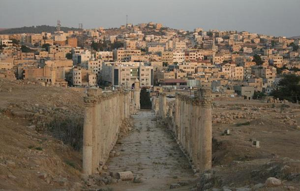 A colonnade leading to a modern part of the city of Jerash.