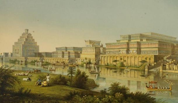 1853 restoration of what the city of Kalhu, Ninurta's main cult center in the Assyrian Empire, might have originally looked like, based on the excavations of the British archaeologist Austen Henry Layard there in the 1840s.
