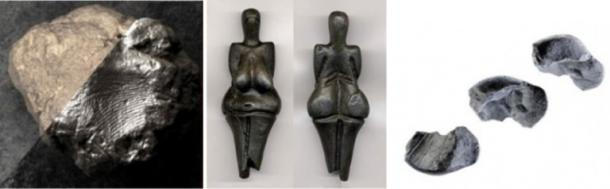 From Left to Right: 10,000-year-old print found on clay fragment in Turkey, 26,000-year-old print found on Venus statuette in the Czech Republic, 80,000-year-old Neanderthal print