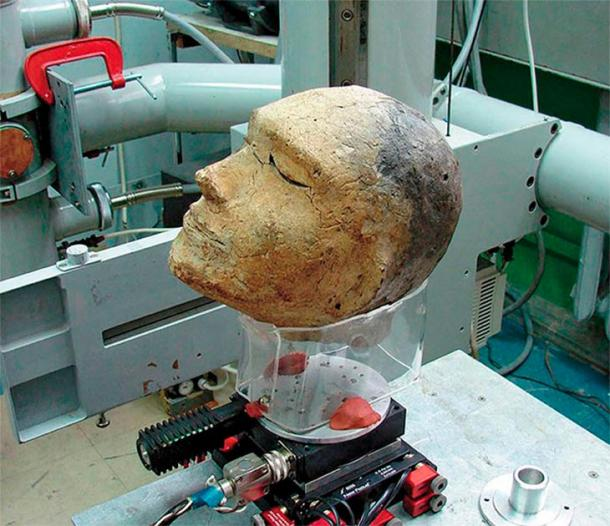 Clay head prepared for fluoroscopy at the Institute of Nuclear Physics, SB RAS. Image: Vyacheslav Porosev, Instutute of Nuclear Physics, SB RAS