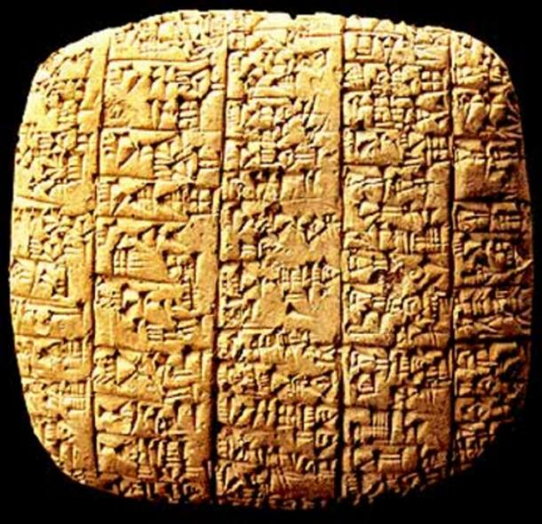 A clay tablet found in Ebla, Syria.