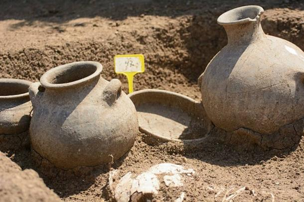 Archaeologists unearthed these fine clay vessels at the site, which was discovered from satellite photographs.