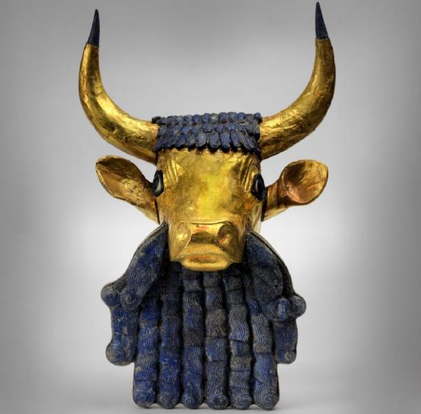 Close-up of the reconstructed bearded bull on the front of the Bull Headed Lyre. (Penn Museum)