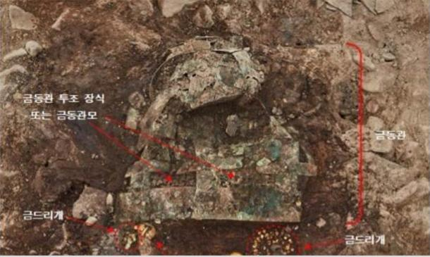 Close up of the coronet found in the elite Silla Kingdom tomb. (Korea Cultural Heritage Administration)