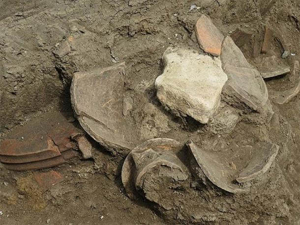 Closeup of the pottery fragments found at the new pit sanctuary in Burgas, Bulgaria. (Burgas Municipality)