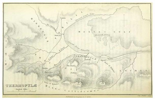 Map depicting the coast line in the time of Herodotus and at the time of the map's creation (1876). Thermopylae pass is between Alpeni and Anthela.