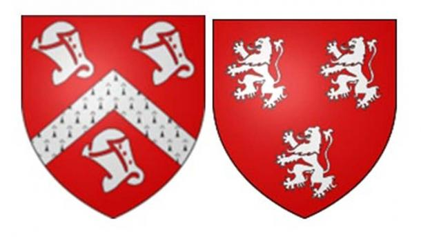 Left; coat of arms of Owen Tudor, (grandfather of Henry Tudor (King Henry VII – Veneti symbols on his coat. Source: CC BY-SA 3.0).  The Tudor house of Wales is said to have originated with King Owain's line. The family name of Tudor is similar to a lost university in Wales. Right; Ancestry.ca also associates Ross (Breton) and Rose (Welsh) families with Tudor.  Both Ross/Rose are R1b-L513.