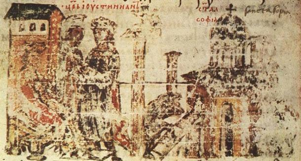 Construction of The Hagia Sophia depicted in the codex Manasses Chronicle (14th century).