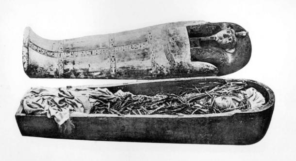 The coffin and mummy of Pharaoh Amenhotep I, who scored highest on the incest rating scale