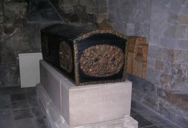 The coffin of Peder Winstrup, which was found to contain a fetus