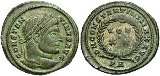 A coin of Constantine I from the Killingholme hoard.