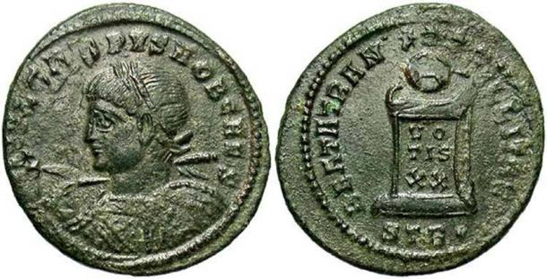 A coin of Crispus from the Killingholme treasure.