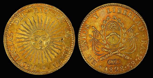 Argentina, 8 gold escudos depicting the sun-god Inti.