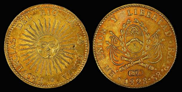Argentina, 8 gold escudos depicting the sun-god Inti.