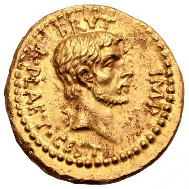 The front of the coin is a portrait of Marcus Junius Brutus, Caesar's chief assassin. (Numismatic Guaranty Corporation)