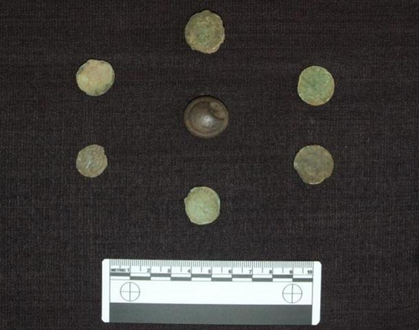 Some of the coins found at the site.