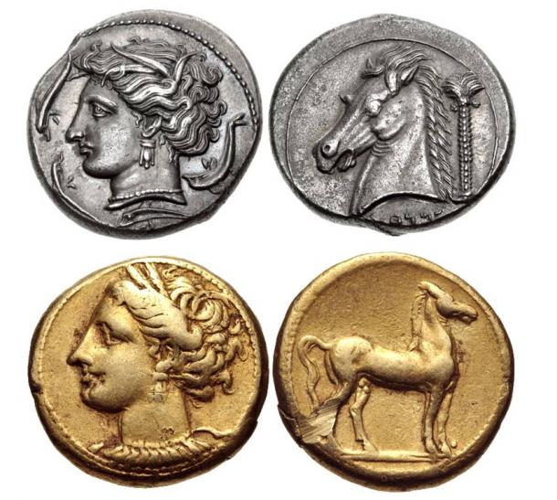 Carthaginian Coins with the symbol of a horse and a palm tree.