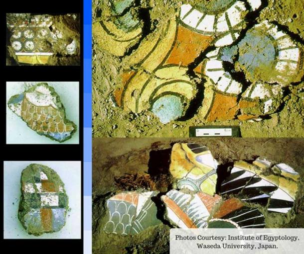 This collage of excavated painted fragments shows the wealth of decorations at the famed Malqata palace in Thebes.
