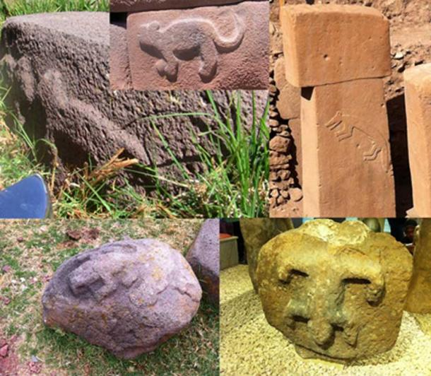 Top left: Sillustani, Peru. Top middle: Cutimbo, Peru.  Bottom left: Sillustani.  Top right: Pillar at Gobekli Tepe. Bottom right: The first artifact found at Gobekli Tepe, originally thought to be Byzantium.